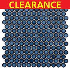 Clearance! Penny Dark Blue Porcelain Mosaic | Bathroom ...