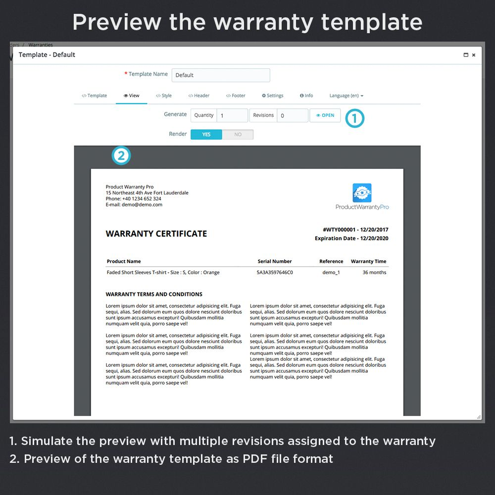 Preview The Warranty Template Simulate The Preview With Multiple