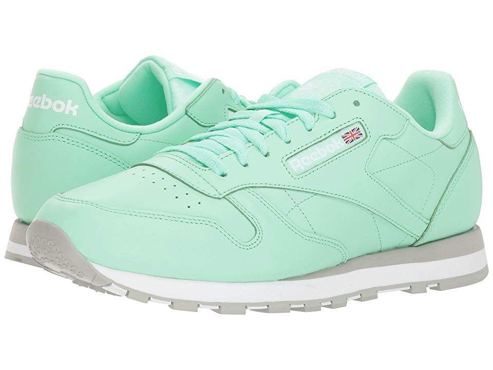 a87e4bc261f Reebok Lifestyle Classic Leather MU (Digital Green White Grey) Men s  Classic Shoes