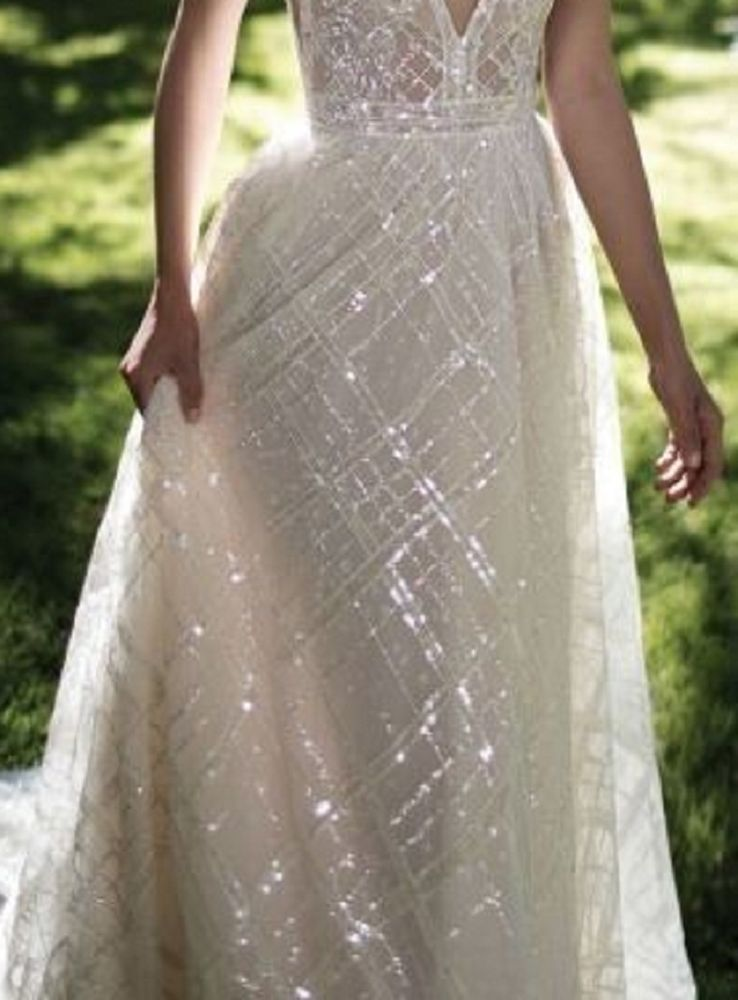 HIGH QUALITY GORGEOUS SPARKLE GLITTER BRIDAL DRESS MESH LACE