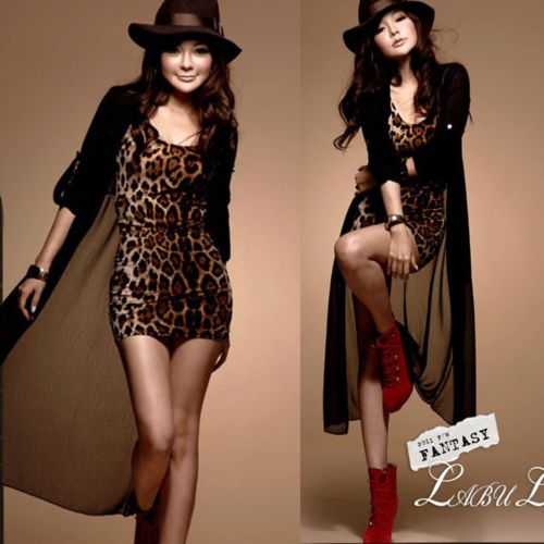 Women/'s Celebrity leopard Print Stretchy Cocktail Party Wiggle Pencil Dress N727
