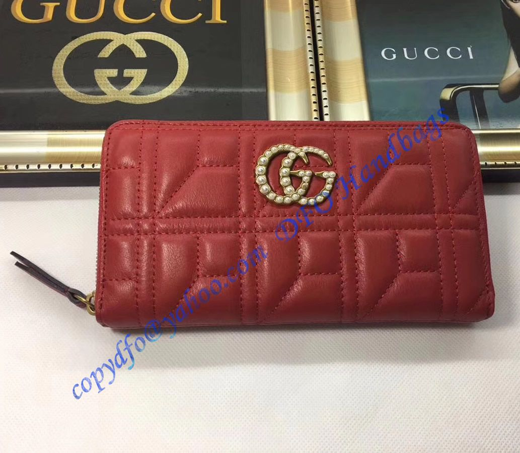 3a76f67fd80c Gucci Pearl Logo GG Marmont zip around wallet in Red leather with cubic  pattern