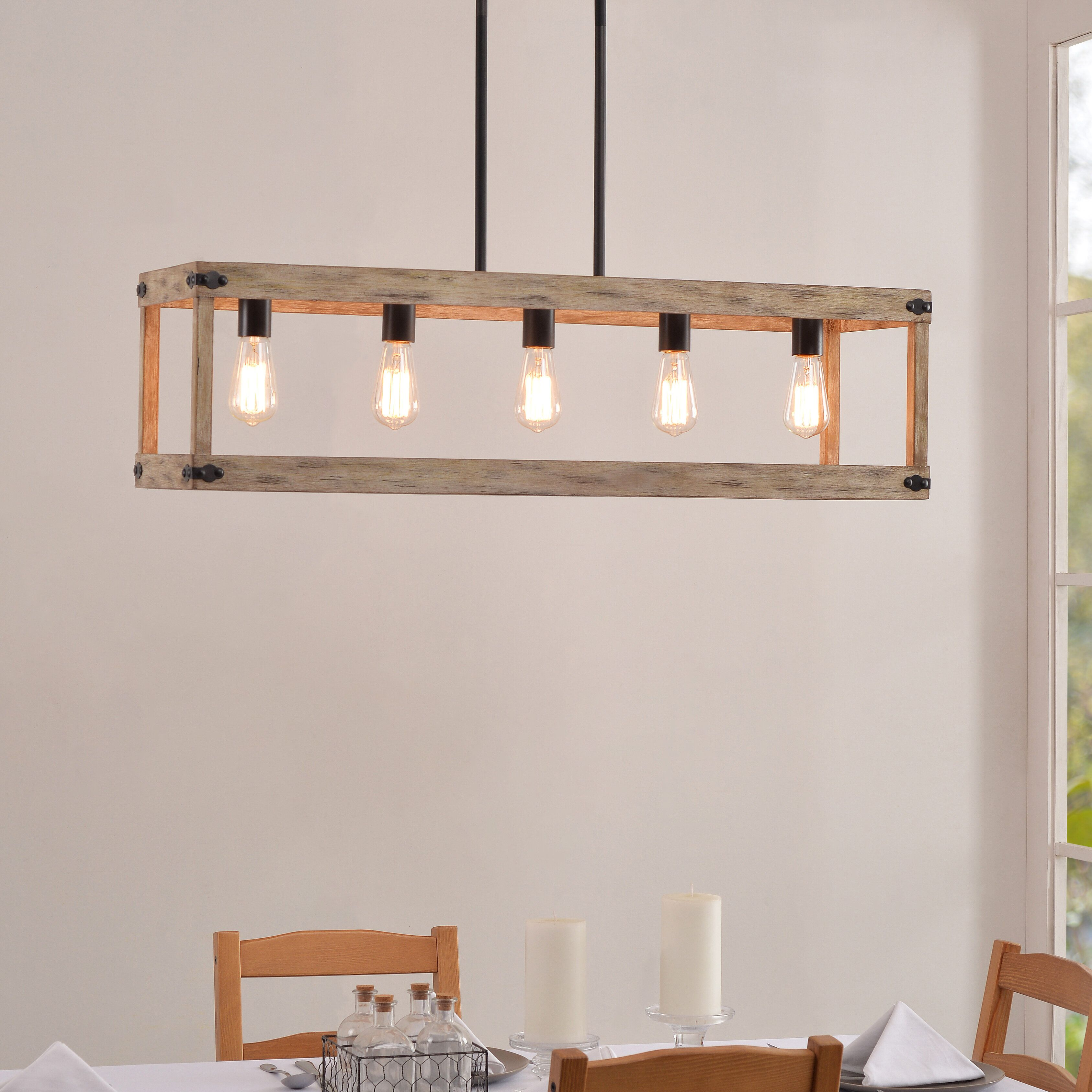 Pulver 5 Light Rectangle Chandelier With Wood Accents High Ceiling Lighting Rectangle Chandelier Ceiling Lights