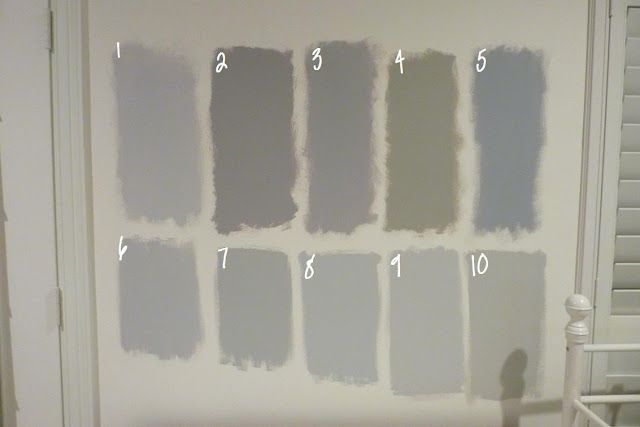 gray (all Benjamin Moore):    1.  Metro Gray  2.  Stormy Monday  3.  Silver Dollar  4.  Silver Fox (which was also the nickname of my 8th grade science teacher.  Weird, I know).  5.  Pigeon Gray  6.  Silver Chain  7.  Smoke Embers  8.  Stonington Gray  9.  Nimbus  10. Revere Pewter