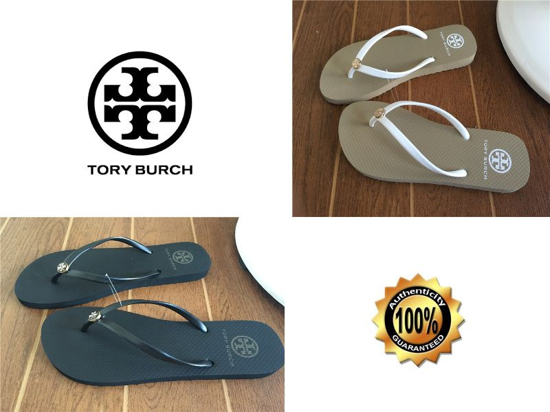 33a8386398b58e Authentic TORY BURCH Rubber Flip Flops Gold Logo Thong Straps Thin Sole  Women s  ToryBurch  FlipFlops