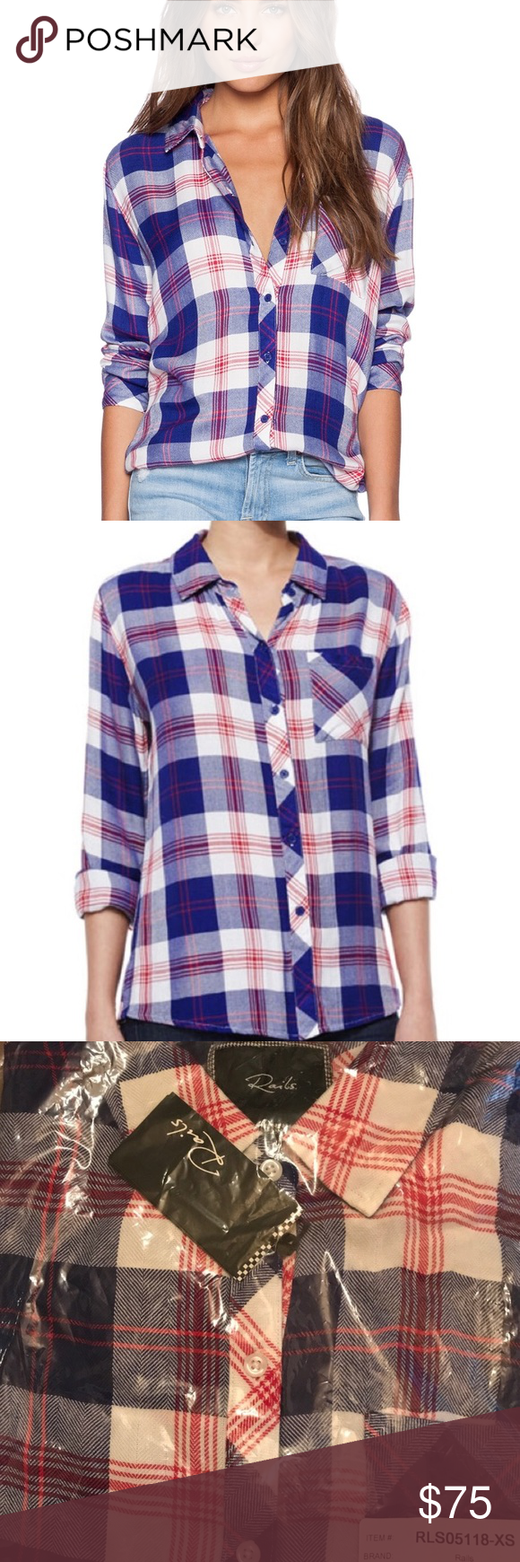 Flannel shirt party  Rails Hunter Flannel in White Blue Cherry  Flannels Conditioning