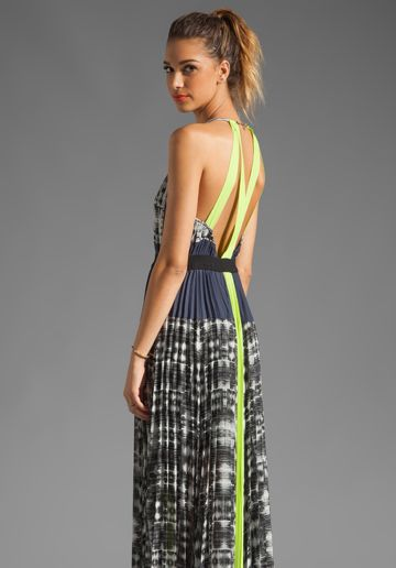 Bcbgmaxazria Maxi Dress In White Combo Tia Liddell Ivery Thought Of You When I Saw