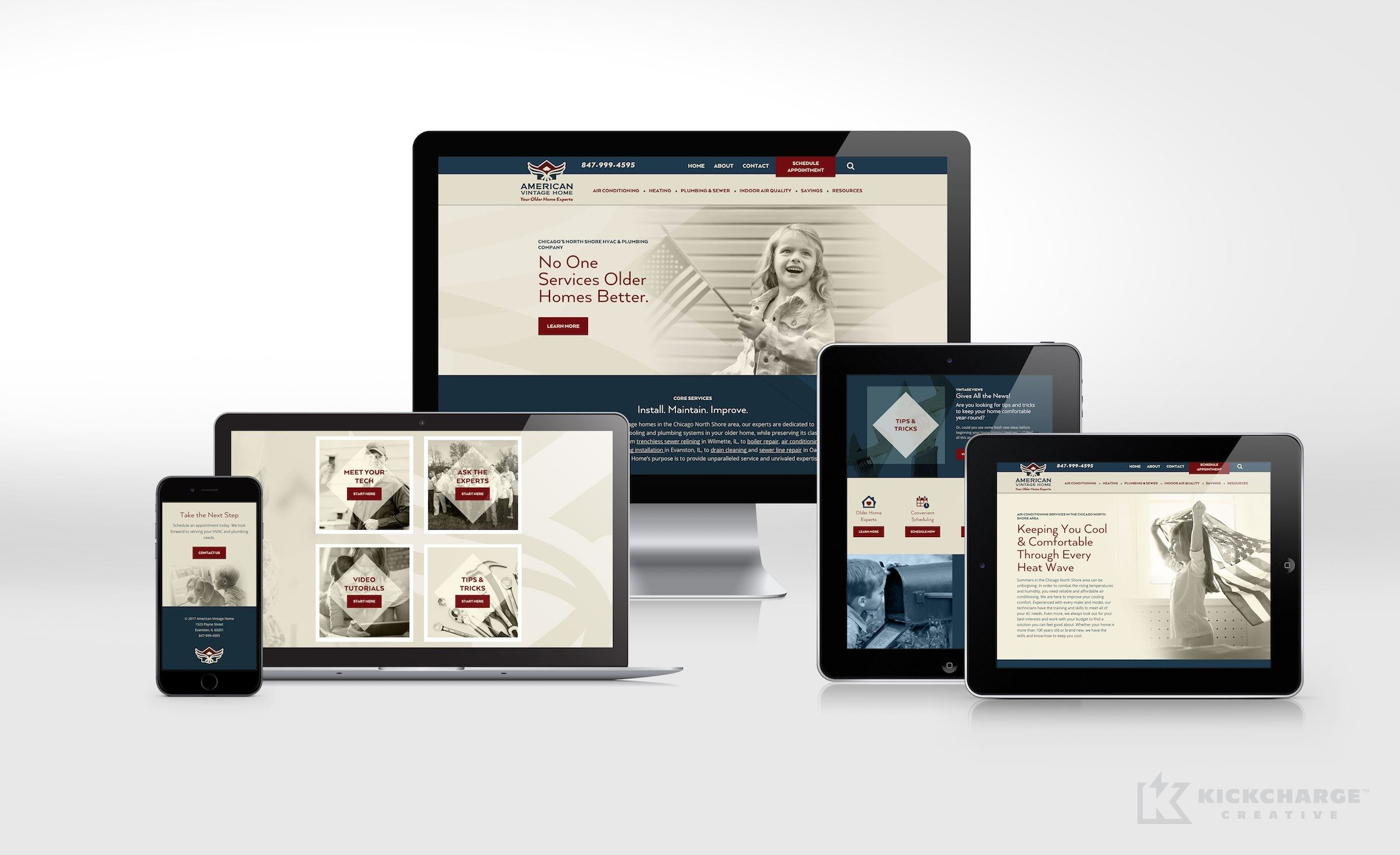 American Vintage Home Kickcharge Creative Portfolio Web Design Web Design Logos Design