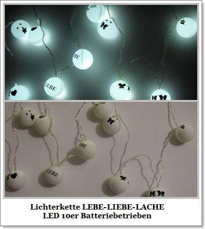 Lichterkette LEBE-LIEBE-LACHE10er  LED -Batterie von ღKreawusel-Designღ auf DaWanda.com