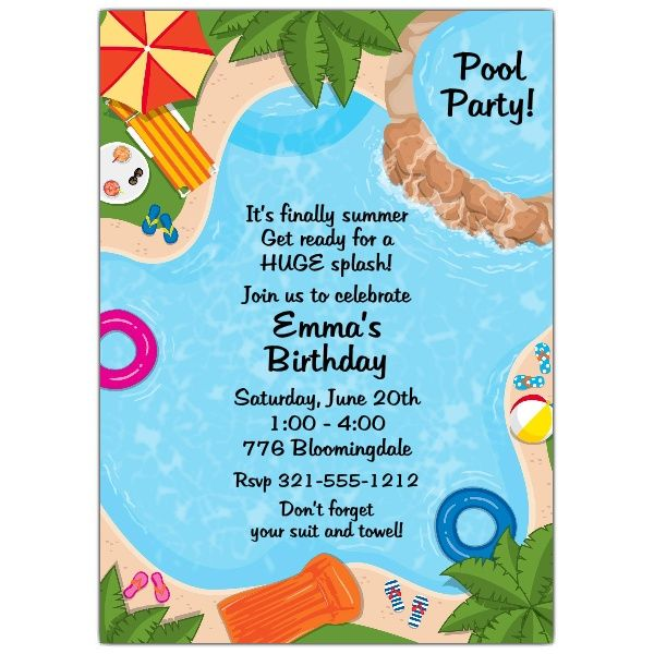 Backyard Pool Party Invitations  Pool Party