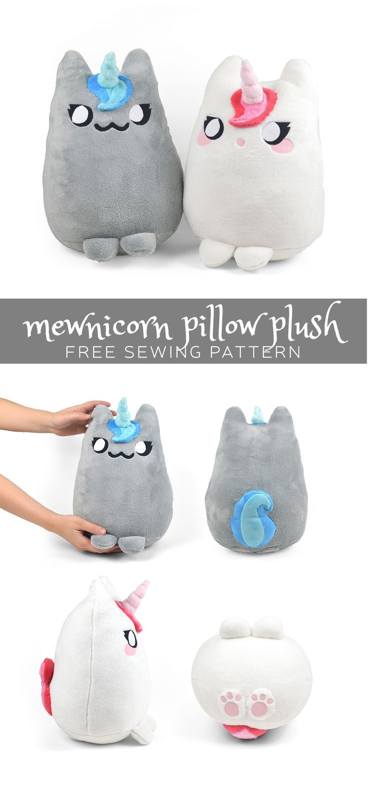 Mewnicorn pillow plush free PDF pattern and tutorial to download ...