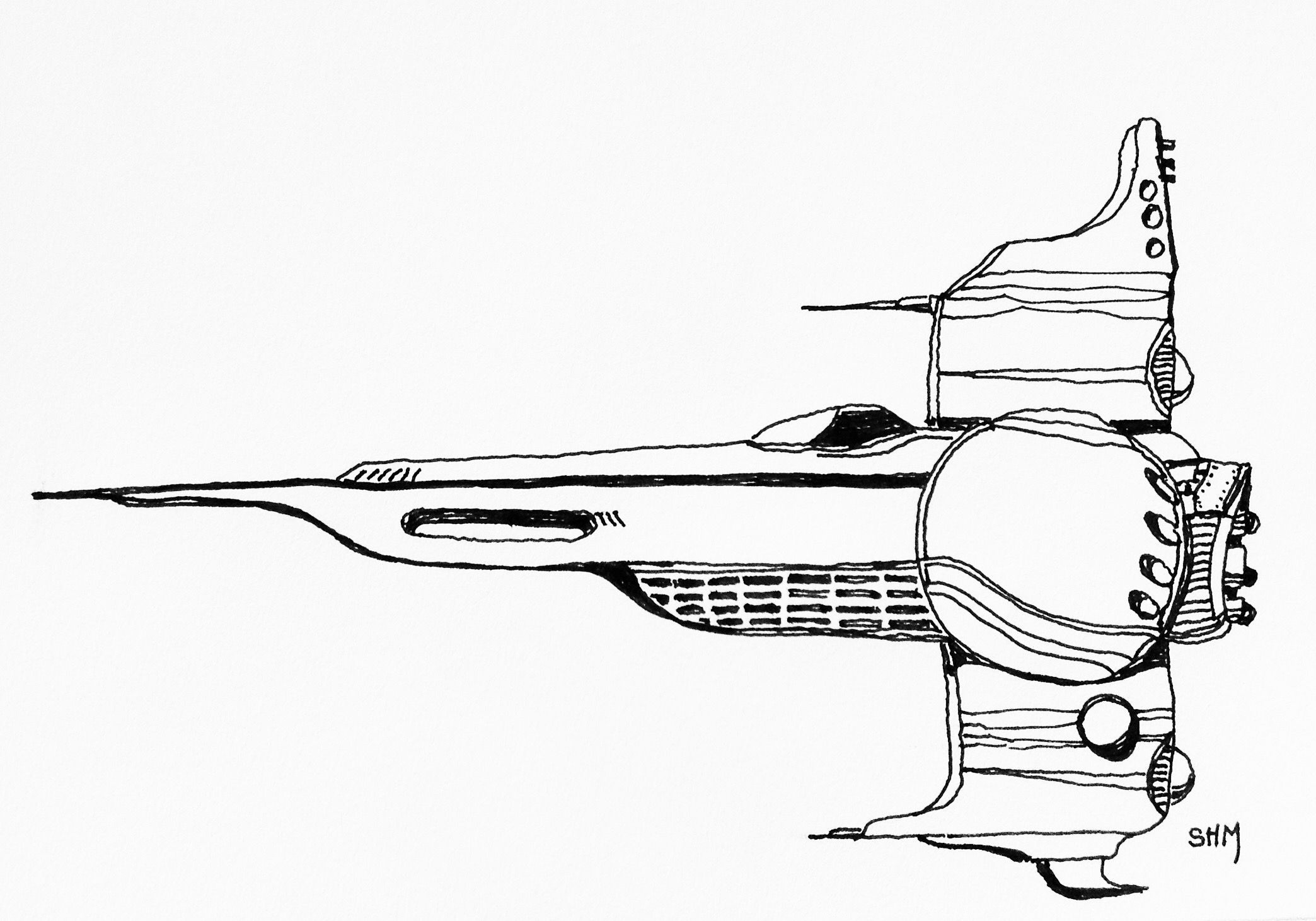 Spaceship #20 - May 20 2016 - ink on paper by Steven H MacDowall 7 inches = 17.78cm X 5 inches = 12.7cm (width x height).