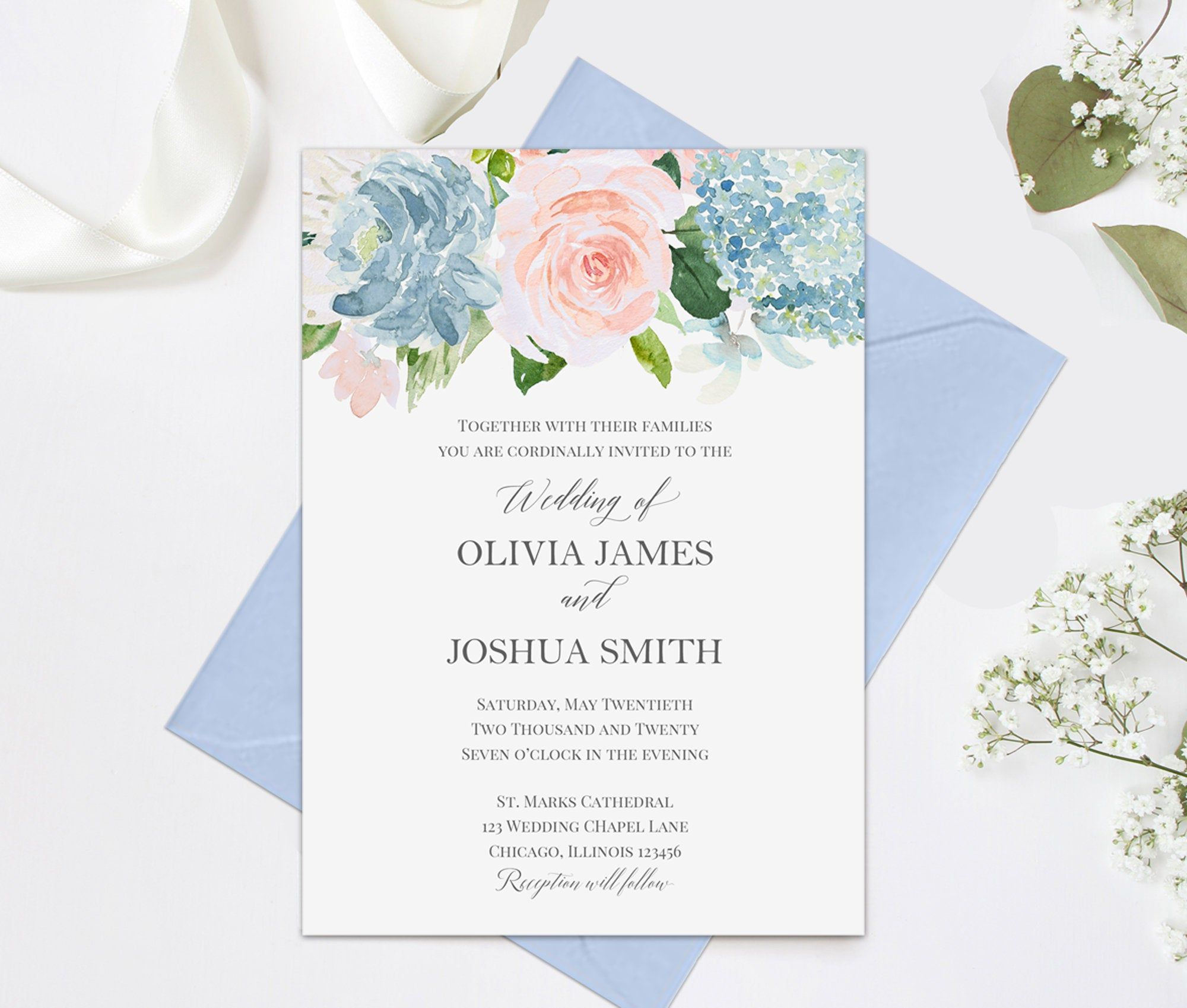 Blue and Blush Blooms Wedding Invitations Suite Engagement Party Couples Shower Rehearsal - Blue and Blush Blooms Collection #engagementpartyideasdecorations