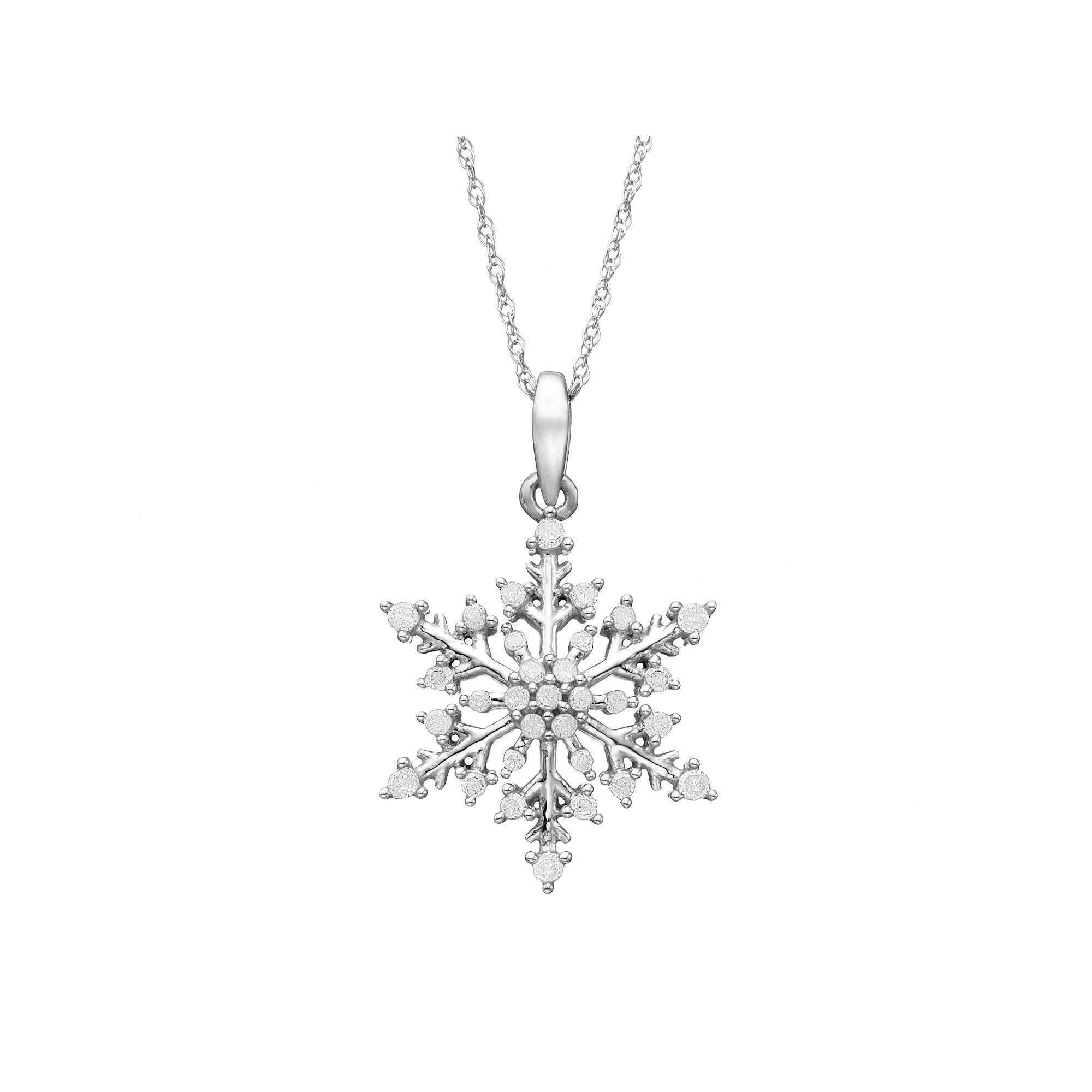 1 4 Carat T W Diamond 10k White Gold Snowflake Pendant Necklace Snowflake Jewelry Small Gold Chain Etsy Jewelry