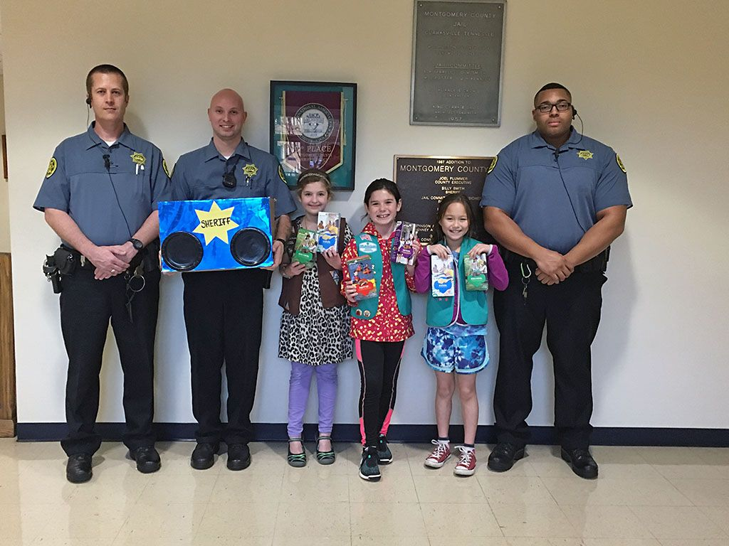 Girl Scout Troop 782 give Cookies to the Montgomery County