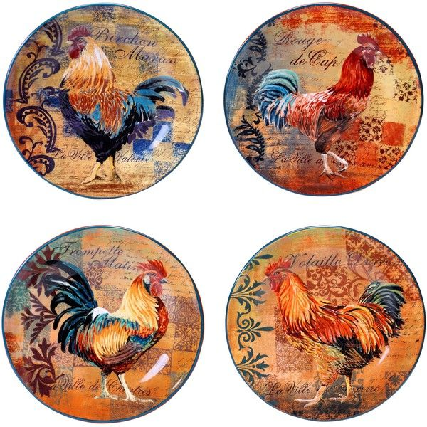 Certified International by Art Licensing Rustic Rooster Set of 4 Dessert Plates  sc 1 st  Pinterest & Certified International Rustic Rooster 8.75-inch Salad/ Dessert ...