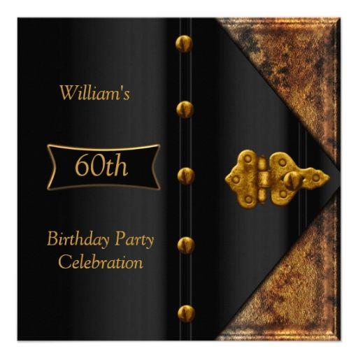 60th birthday party elegant mens rusty gold black card 60th