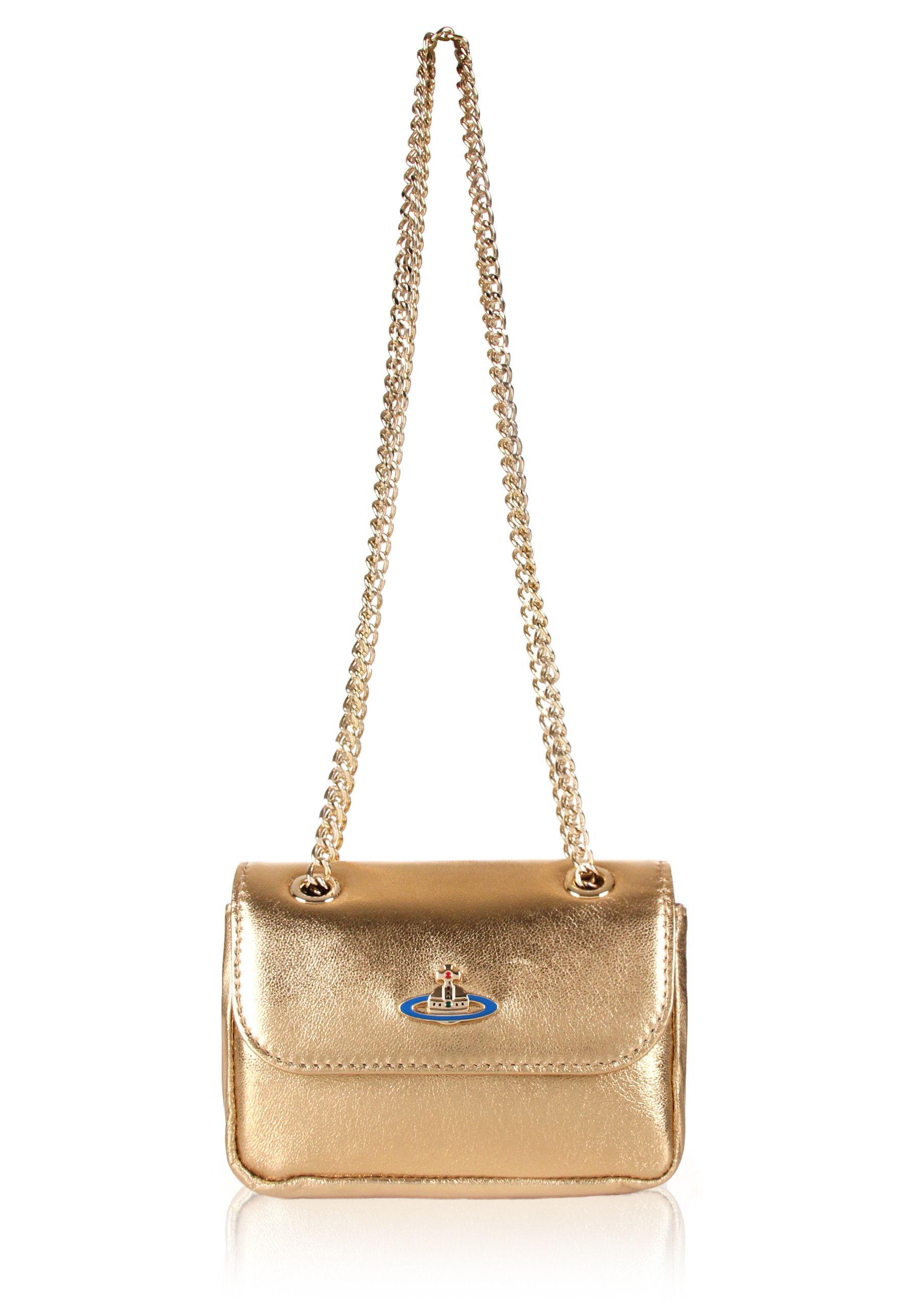52328ac28a2 Vivienne Westwood Nappa 52020005 Tiny Crossbody Bag in gold. Vivienne  Westwood's tiny crossbody bag is