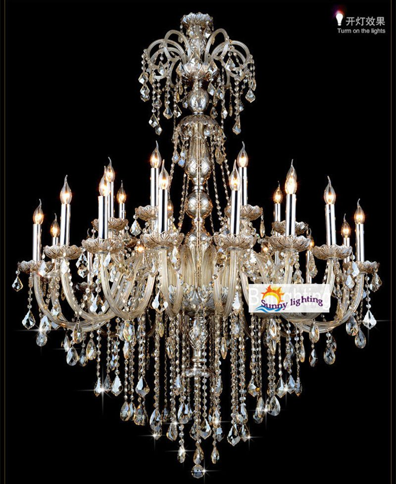 Extra Large Retro Cognac Crystal Light Chandeliers For Star Hotel