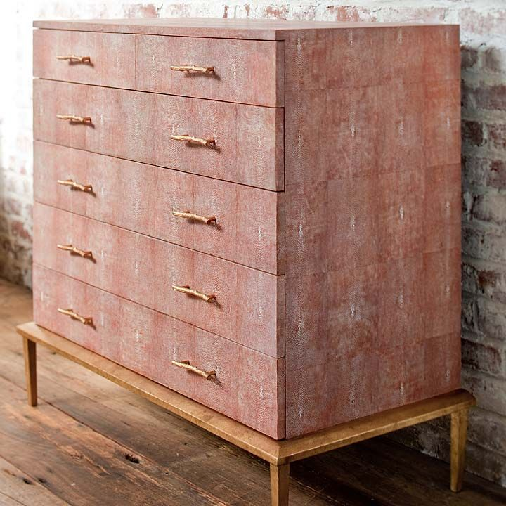 Kitchen Table Kitsilano: Coral/Gold Shagreen Chest Of Drawers