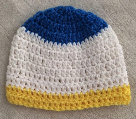 White Blue Yellow Donald Duck Beanie Baby by SonitasYarnStash