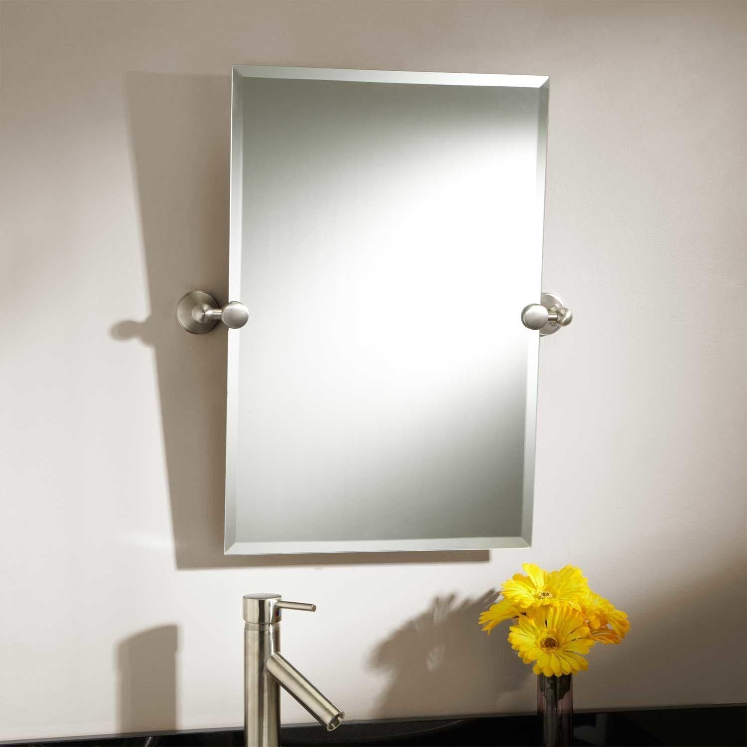Decorative Brushed Nickel Mirror Tilting Bathroom Mirror Brushed Nickel Bathroom Ideas
