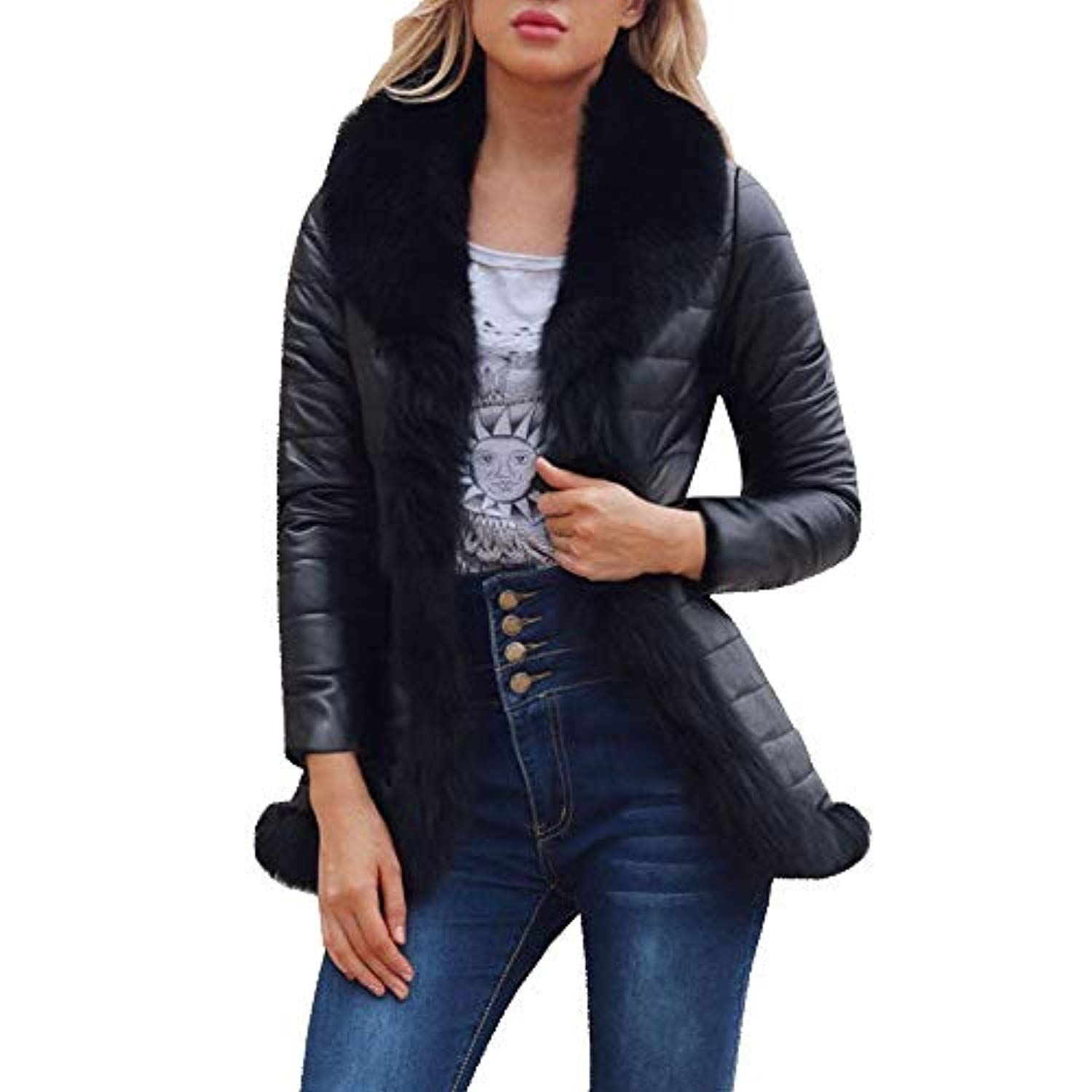 d050003e0 Women's Fashion Jacket, Faux Fur Collar Zipper Leather Patchwork ...