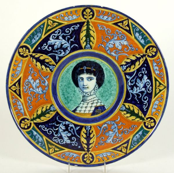 1880 ITALIAN MAJOLICA CHARGER. 1880 Italian majolica charger in 15th c. style, center dished areas with female portrait and wide border of polychrome acanthus and acanthus scroll decoration, artist signed on back by C. Morelli. Marked: C. Morelli Roma Ottobre 1880 Sec.XV 7740