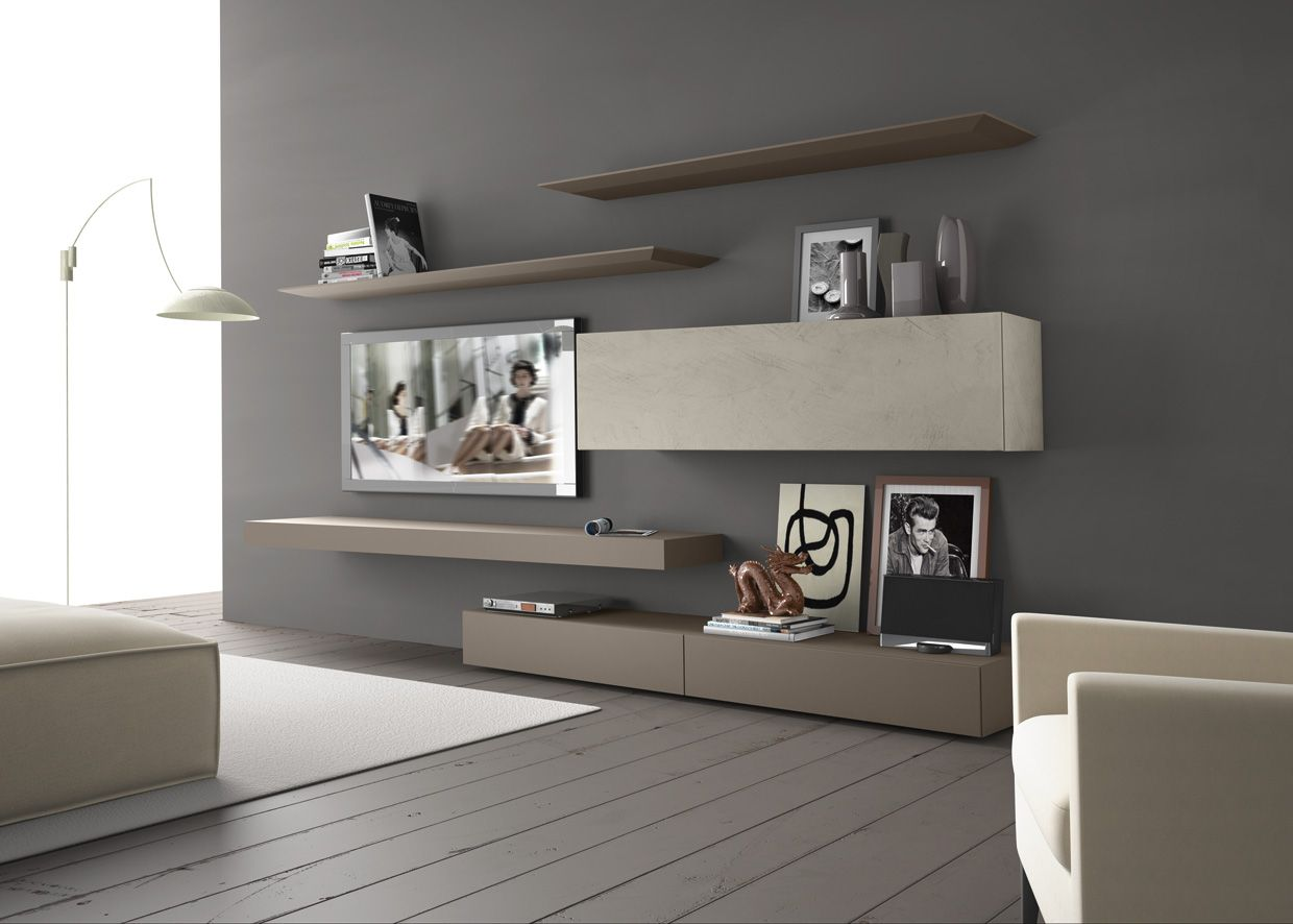 Sectional Wall Mounted TV Wall System InclinART   265 By Presotto Industrie  Mobili Design Pierangelo Sciuto