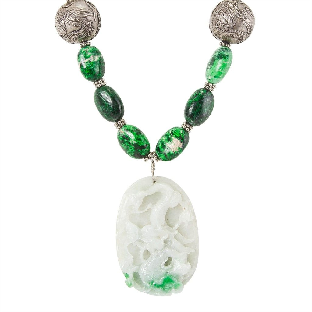 """Vintage Jade Pendant with Dragon Carving, Antique Chinese Dragon Sterling Silver Beads, Maw Sit Sit (variety of Jade) and Sterling Silver. 22"""" Length- Dragon Pendant  2 1/2"""" L  x 1 3/4"""" W Price $1,900.00"""