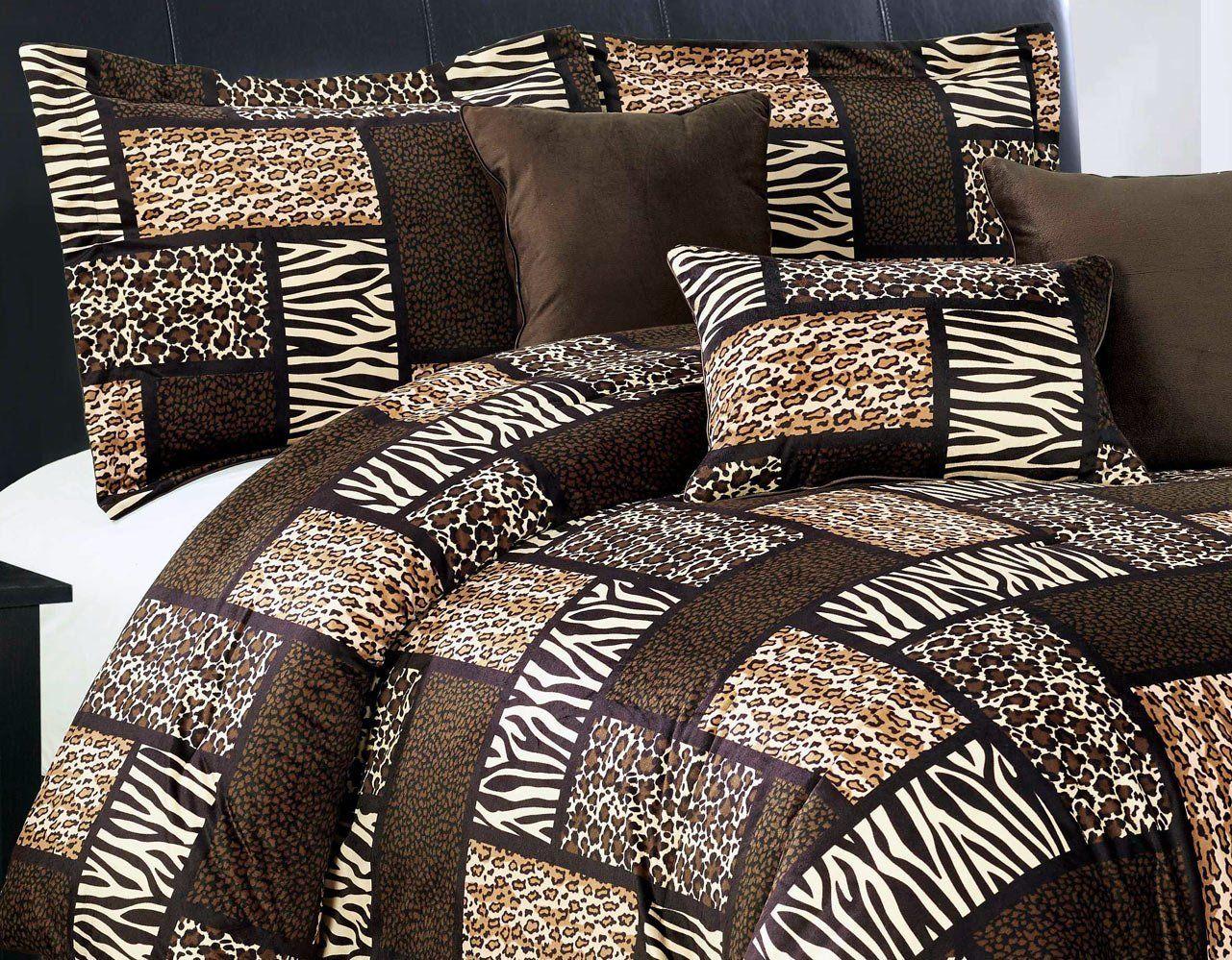 7 Piee Queen Size Safari Comforter Set Leopard Tiger Zebra Etc