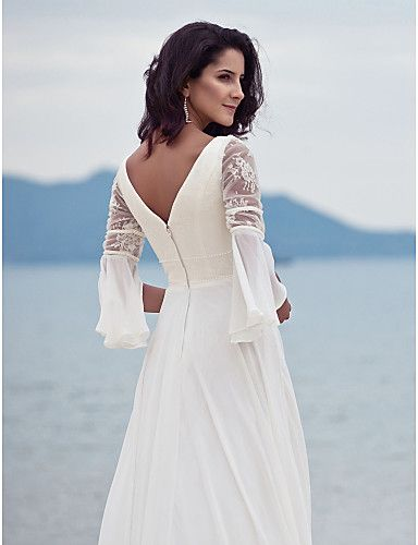 Wedding Dress Sheath Column Sweep Brush Train Chiffon Lace V Neck With Pearl Detailing and Lace Appliques – USD $ 109.99