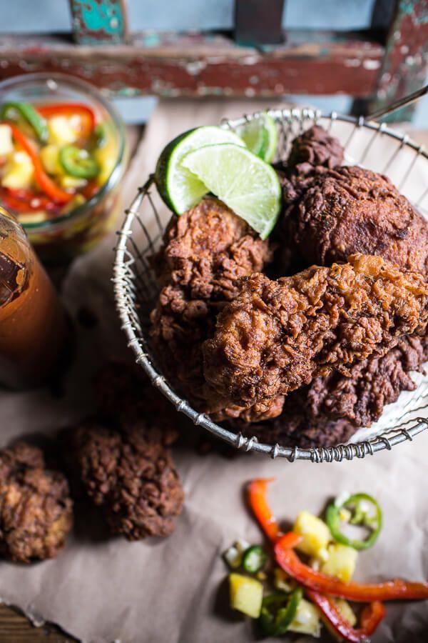 Almond Buttermilk Jamaican Fried Chicken Hbh Recipe Fried Chicken Chicken Recipes Food