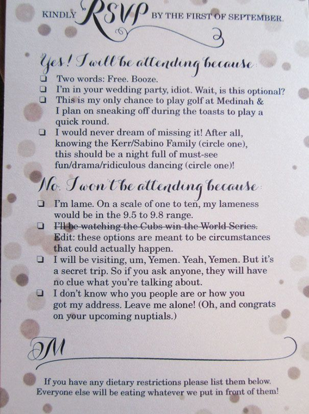 9 Hilarious Wedding Invitations That Simply Cant Be Ignored