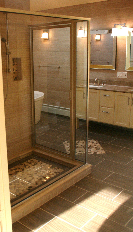 Glass enclosed Shower and freestanding tub #RhodeIslandBathroom www ...
