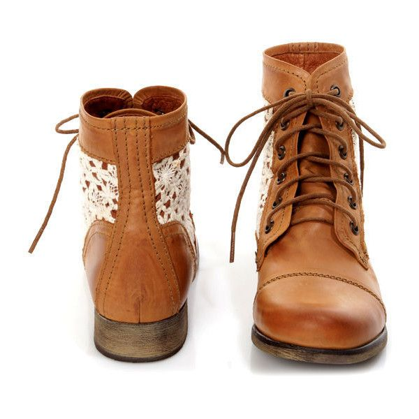 412cf794f09 Steve Madden Thundr-C Cognac Multi Crocheted Lace-Up Ankle Boots  99 ( 99