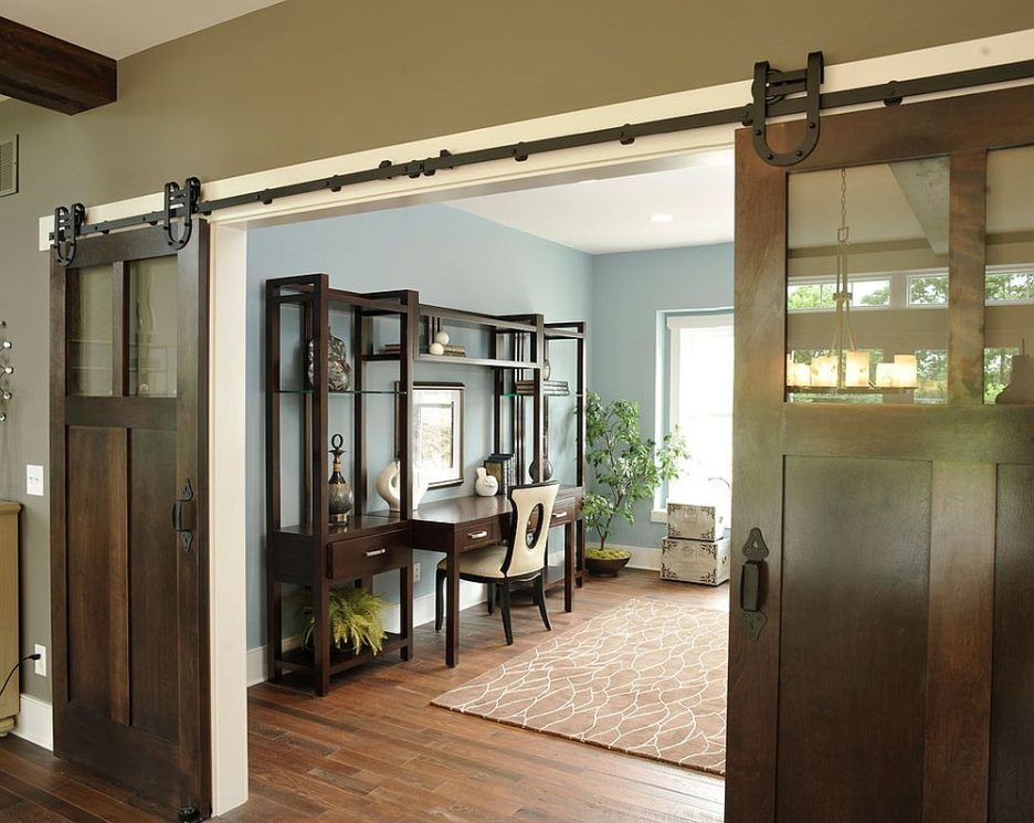 Amazing Barn Door Design Ideas Featuring Dark Brown Color Wooden Barn Doors And Double Panels Barn Contemporary Home Office Barn Style Doors Home Office Design
