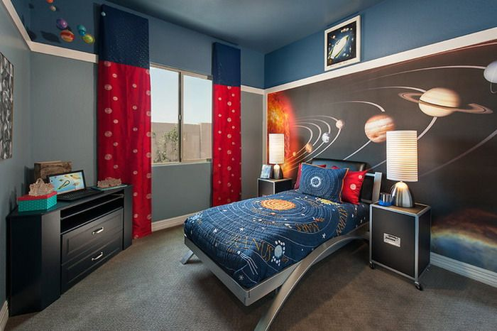 Etonnant Interior: Modern Kids Bedroom Interior Design With Solar System Kids  Bedding And The Wallpaper Decor Ideas: Inspiring Interior Idea With Outer  Space Theme