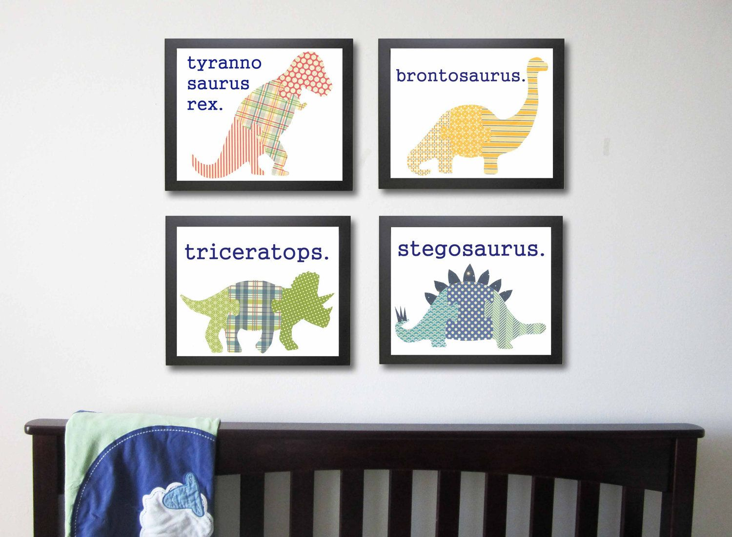 Dinosaur Nursery Art Prints Children S Set Of 4 8 X 10 Baby Boy Kid Wall Decor 59 00 Via Etsy