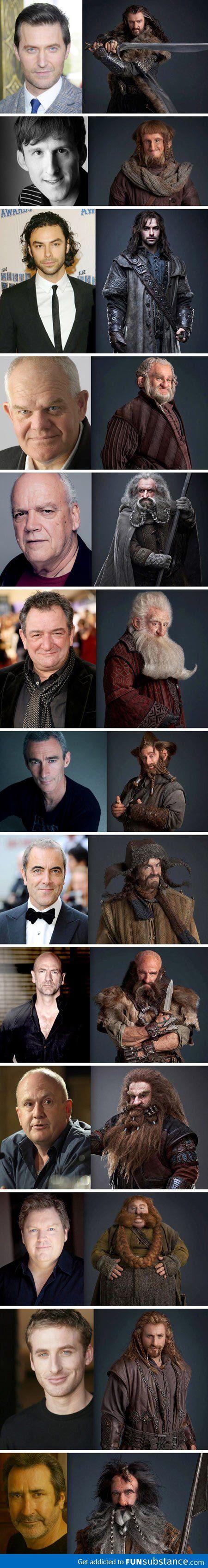 The Hobbit dwarves, pre and post make-up - FunSubstance