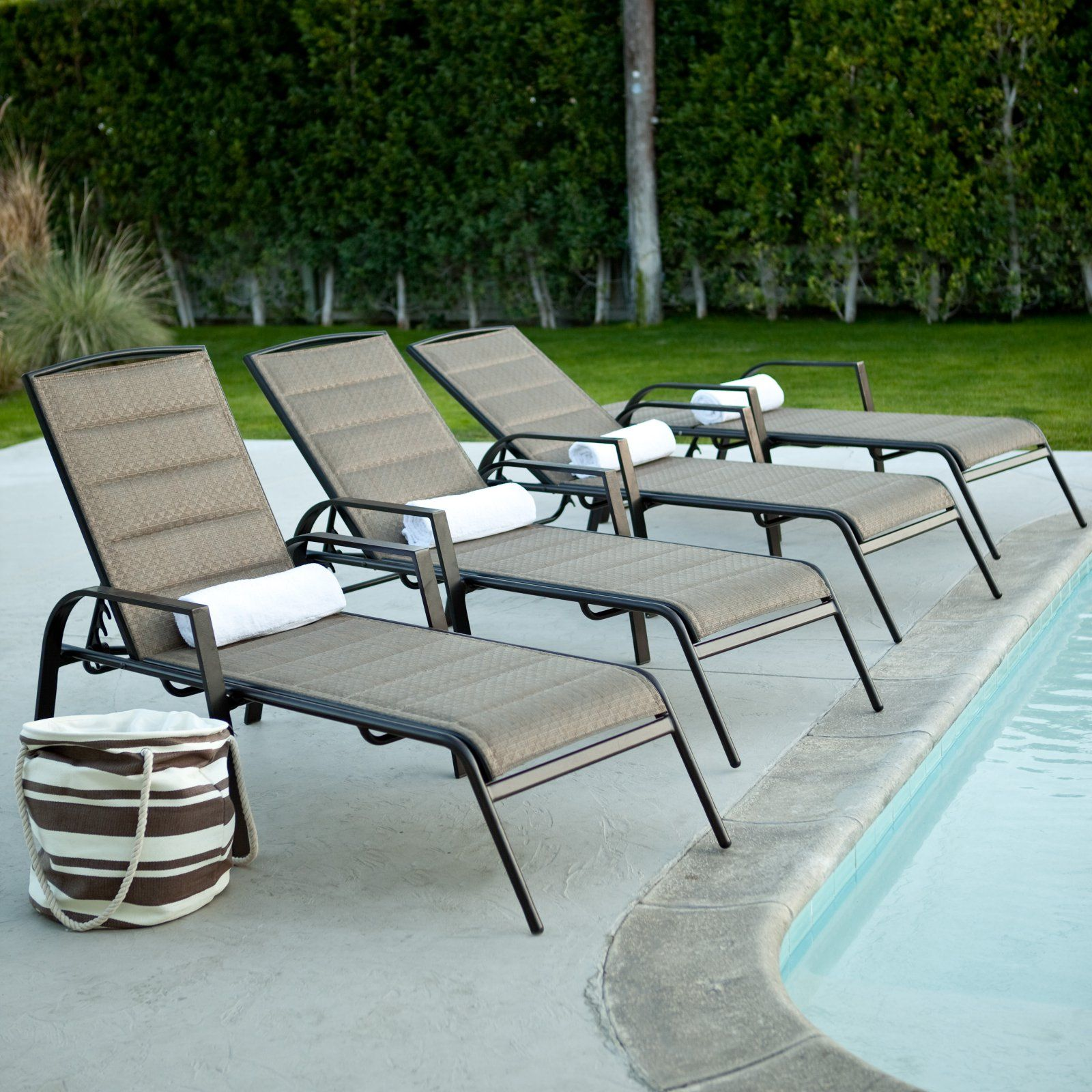 Outdoor Coral Coast Del Rey Padded Sling Chaise Lounges ...