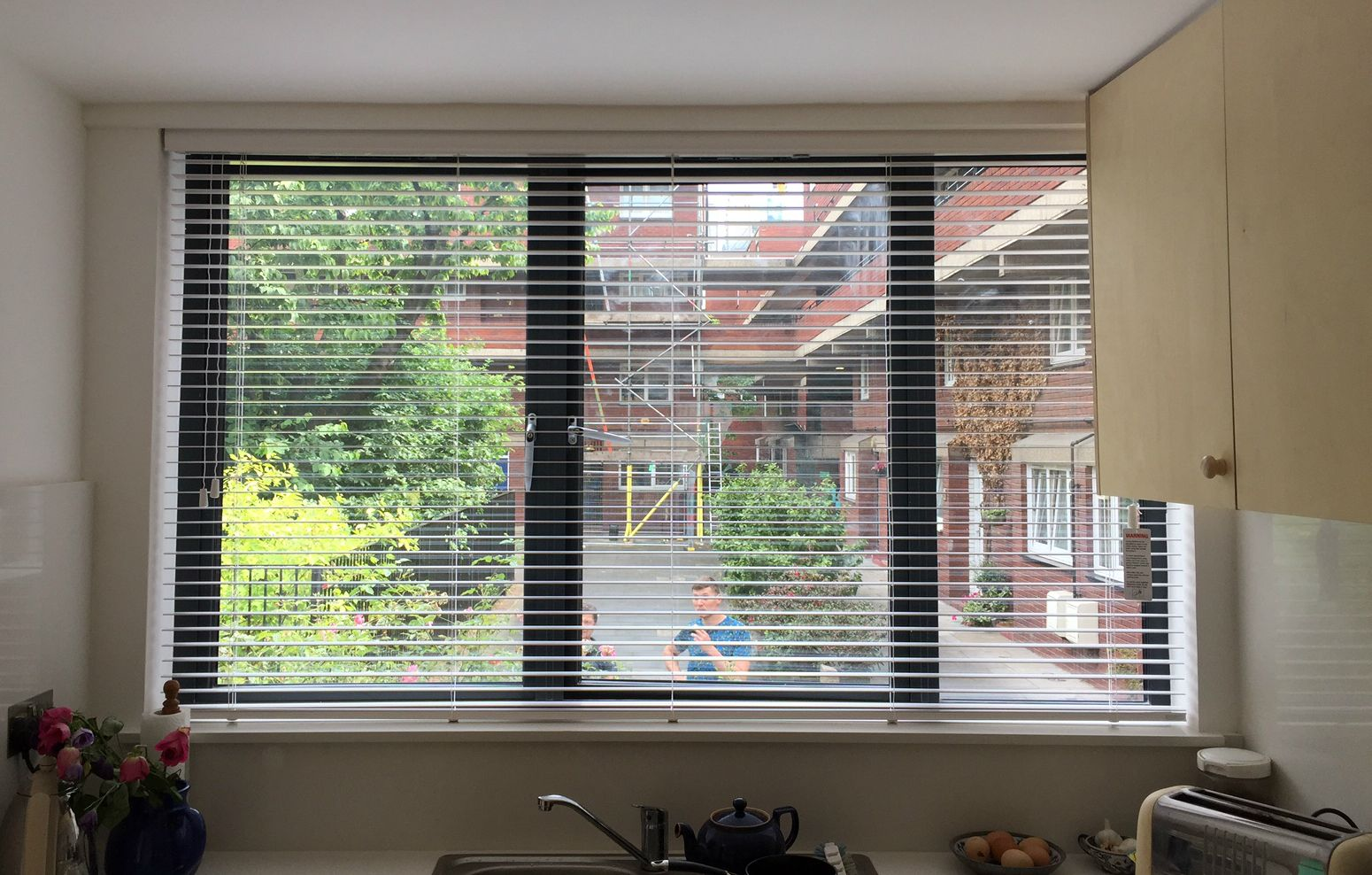 Wood Venetian Blind With Strings Fitted To Kitchen Window Chalk Colour Made To Measure Inside Recess Near O Wooden Blinds Blinds Venetian Blinds Wooden