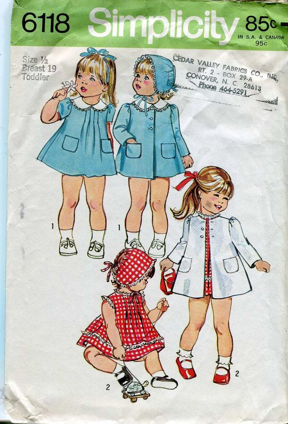 Simplicity 6118 Vintage 60s Baby Girls Dress Coat by bellaloona, $5.00