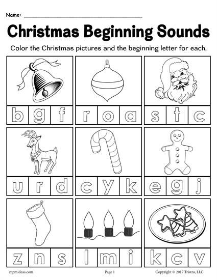 FREE Printable Christmas Beginning Sounds Worksheet | early ...