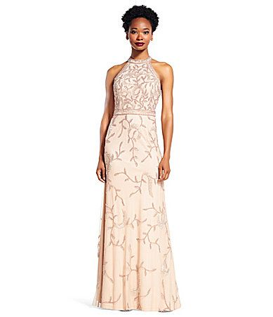 Adrianna Papell Beaded Halter Sleeveless Gown #Dillards | Mother of ...