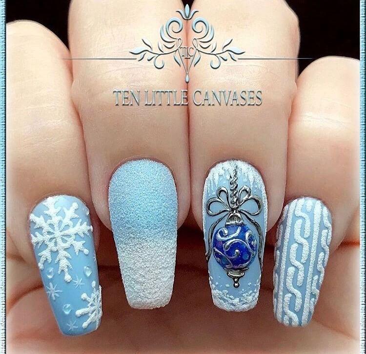 Snow Nails Christmas Winter Manicure Blue Christmas Nail Designs Winter Nails Christmas Nails Festive Nails Xmas Nails Winter Nails Christmas Nail Designs