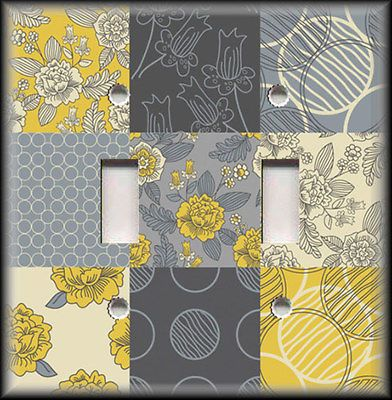 Light Switch Plate Cover - Grey And Yellow Flowers Home Decor Floral