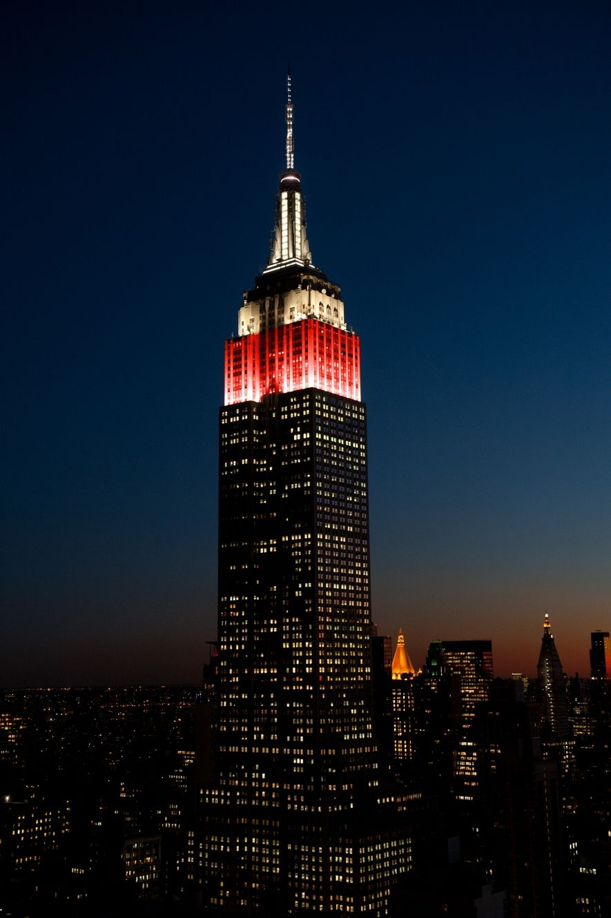 September 13, 2016: In celebration of @shutterstock's 100 millionth image, the Empire State Building illuminates in red and white.