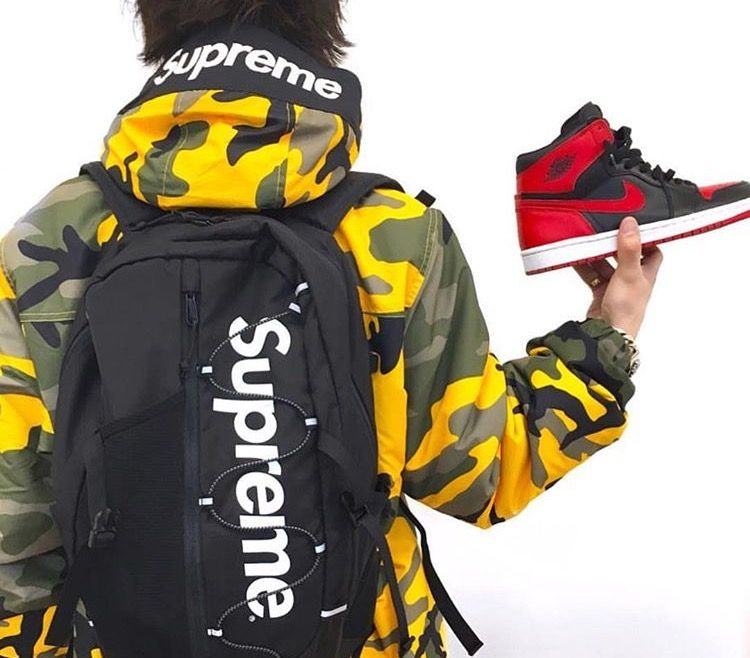 36b3c9689f6dc Supreme brooklyn camo jacket, breds and a bag | Litty in 2019 | Camo ...