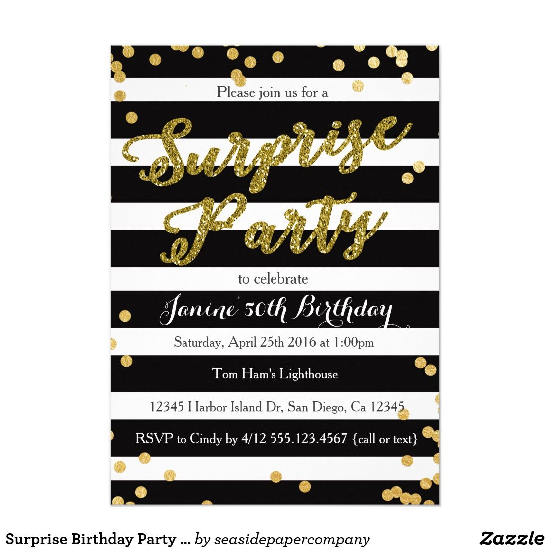 Surprise birthday party invitation invitation cards pinterest